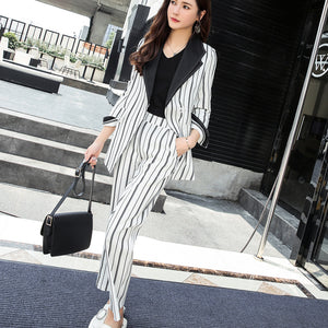 Bandage Striped Pant Suit for Women Turn-down Collar Blazer Jacket