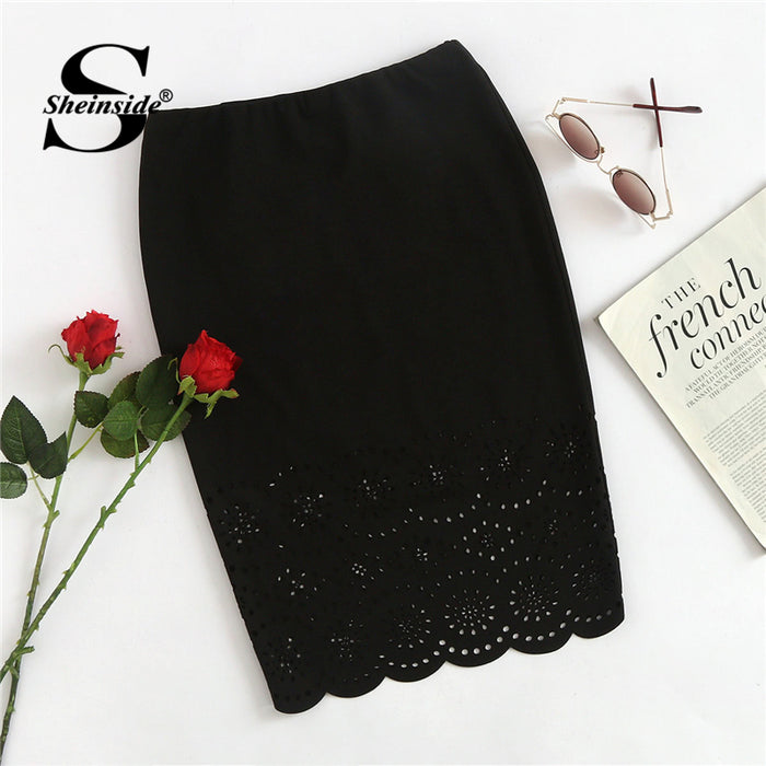 Sheinside Black Workwear Pencil Skirt Office Ladies Bodycon Mid Waist Above Knee Sheath Stretchy Hollow Out Women Elegant Skirt