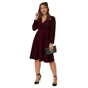 V Neck Solid Office Lady Long Sleeve High Waist  Lace Up Midi A Line Dress