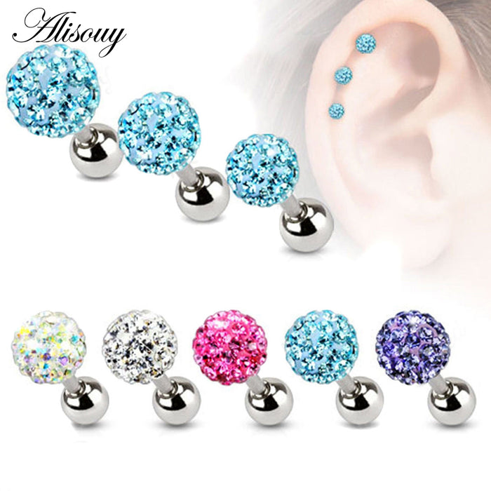 Crystal Ball Earrings Surgical Steel Ear Plugs Eyebrow Piercings Women's Ear Studs