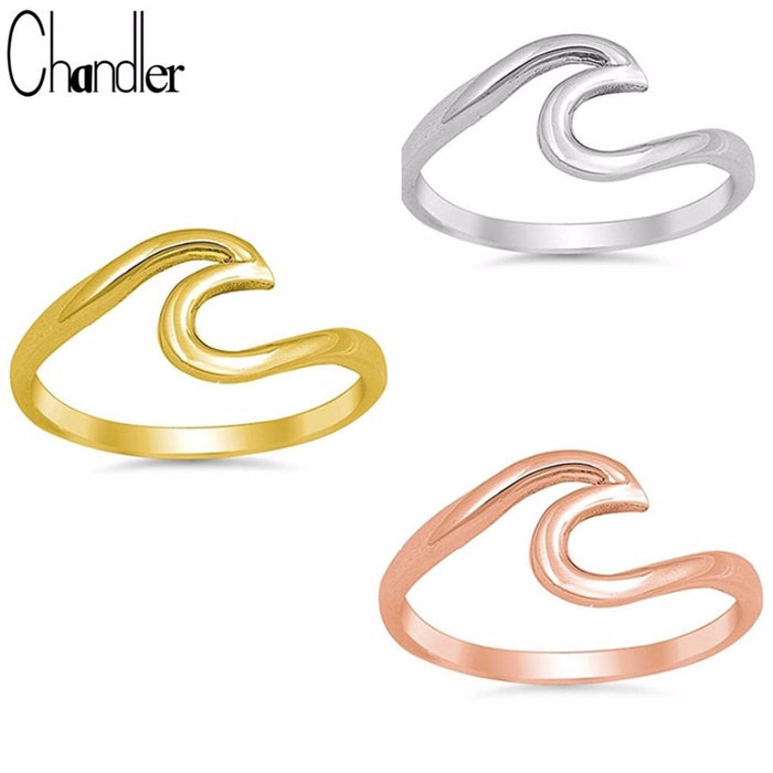 Chandler Summer Beach Wave Ring Rose Gold Handmade Wire Wrap Surf Rings Simple Design Minimalist Midi Finger Knuckle Toe Bague