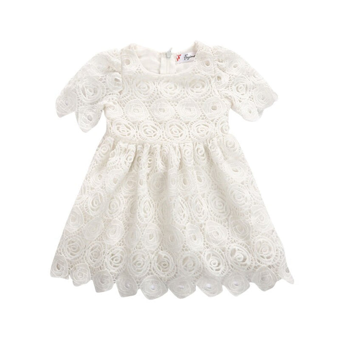 Infant Toddler Baby Girls Dress Summer Baby Girl White Short Sleeve Lace Tutu Zipper Dresses Floral Princess Girl Clothing 0-24M