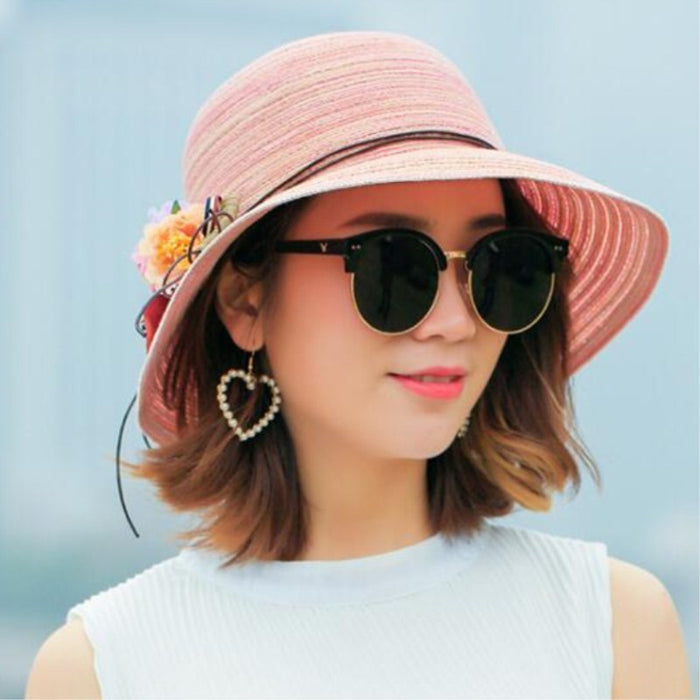 Fashion women  Hat Lady medium  Brim Floppy Summer Beach Sun Straw Hat Cap with flower