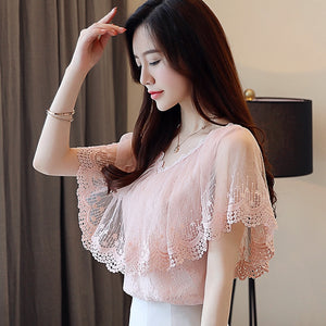 Women Tops and Blouses Summer Lace Blouse Shirt Fashion Women Blouses New 2018 Short Sleeve Lace Top Blusa Feminina 0788 30