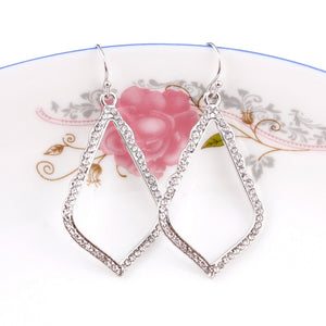 2018 Brand Silver Drop Earrings with Crystal Fashion KS Cutout Teardrop