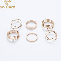 Latest Fashion Punk Stackable Midi Ring Sets For Women Bagues