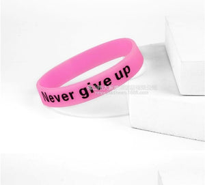 Glow In Dark Silicone Rubber Elasticity Sport Wristband Never Give Up Print