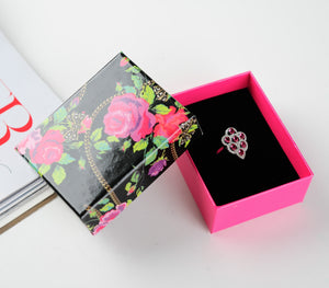 DoreenBeads Jewelry Boxes Wholesale Flower Printed Rose Red Necklaces Ring Package Box Packaging Gift Box 8.5*6.5*3.5cm 1 Piece