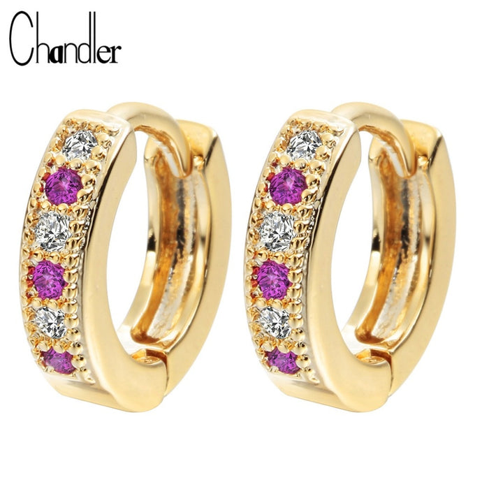 Chandler New Gold Silver Plated Purple Classic Baby CC Hoop Earrings Champagne