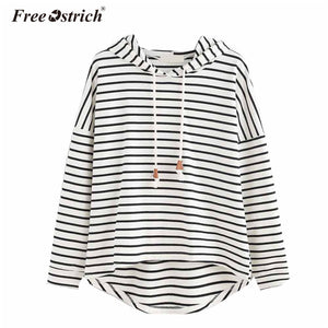 Free Ostrich Sweatshirt Women Autumn Loose Oversized Striped Long Sleeve Hoodies Casual Women Tops Brief Pullovers Female L1530