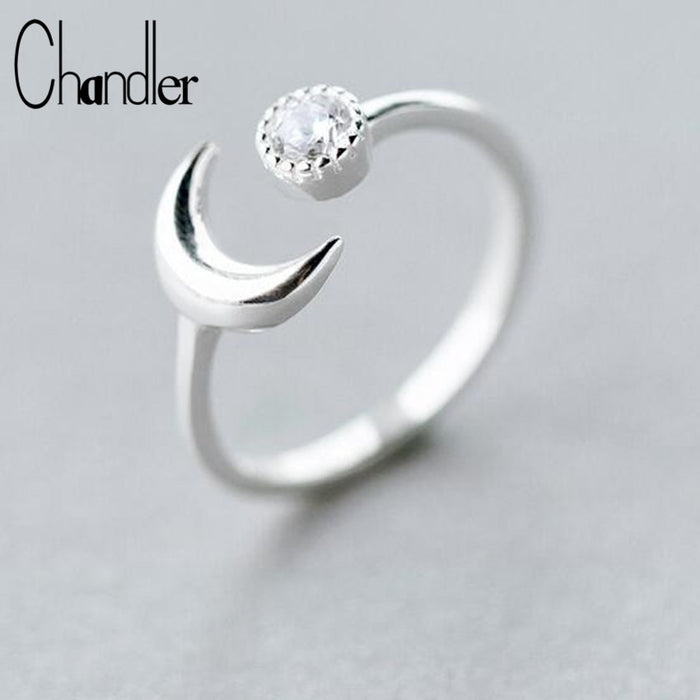 Chandler 925 Sterling Silver Moon Ring For Women Brushed Dot Crystal Charm Wedding Band Pinkie Toe Finger Sweet Knuckle Bague