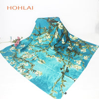 New 130*130cm Fashion luxury brand Pashmina Van Gogh painting almond blossom tree floral print big square twill silk scarves