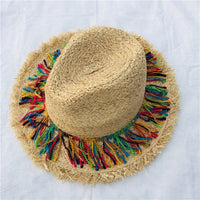 Coloerfull Tassel Ribbon Decorate Straw Hat Shading Sun Hat Lady Fashion Beach Hat Jazz Summer Hat for Woman