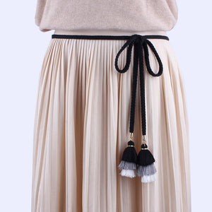 fashion  women belts rope for dresses tassel Braided waistband belt Twist weaving knot decorated belt brown black cotton string