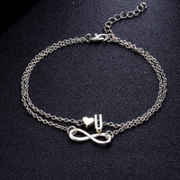 Modyle Vintage Silver Anklet Female Letter Heart Bohemian cheville Boho Charm Jewelry Infinity Ankles Bracelets for Woman