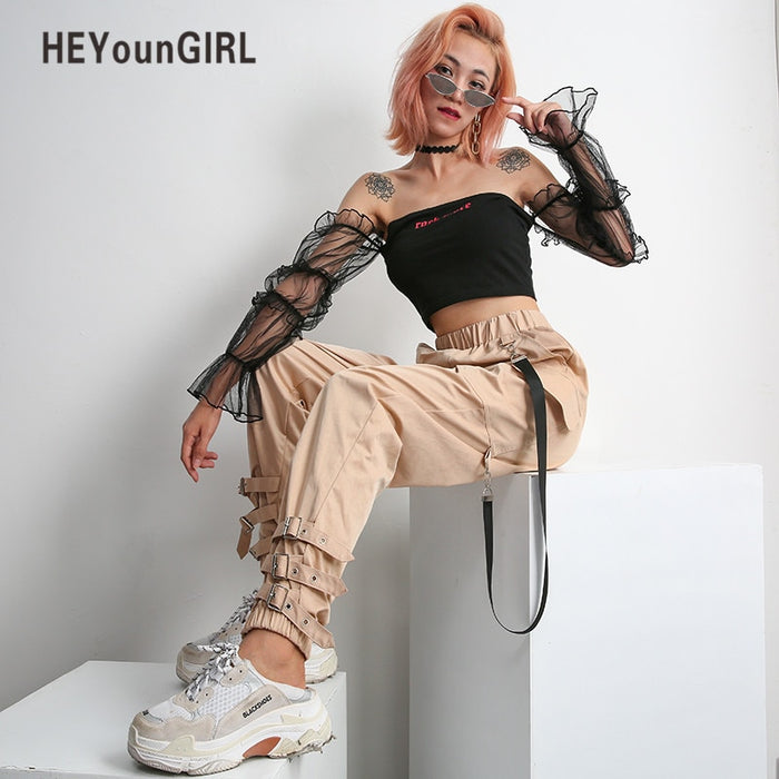HEYounGIRL Streetwear Khaki Casual Cargo Pants Capris Women Elastic High Waist Joggers Buttons Fashion Hip Hop Long Trousers