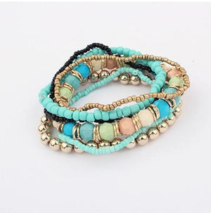 New Spring Korean Designer Fashion Bohemia Bead Bracelet Beaded Multilayer