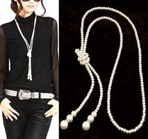 Collier Fashion Simulated Pearl Long Necklace for Women Vintage Choker Statement Necklaces & Pendants Wedding Party Collar 2019