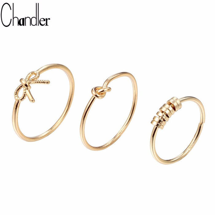 Chandler 3pcs Bowknot Knot Bead Rings For Women Knuckle Toe Ring Set Gold Color Slim Wire Feet Bague Lovers Best Gift Wholesale