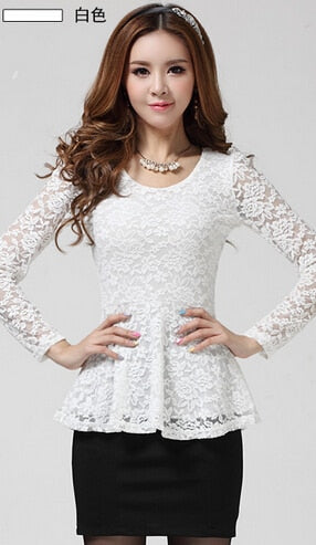 Cut Out Lace Shirts Women Floral Crochet Sexy Blouse Autumn Winter Basic Shirt Long Sleeve Lace Blusas Slim Peplum Tops B5973