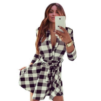 2019 Fashion Women Long Sleeve Short 3/4 Sleeve Shirt Dress