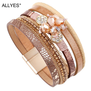 ALLYES Women Leather Bracelet Femme Bohemian Multi-layer Crystal Beads