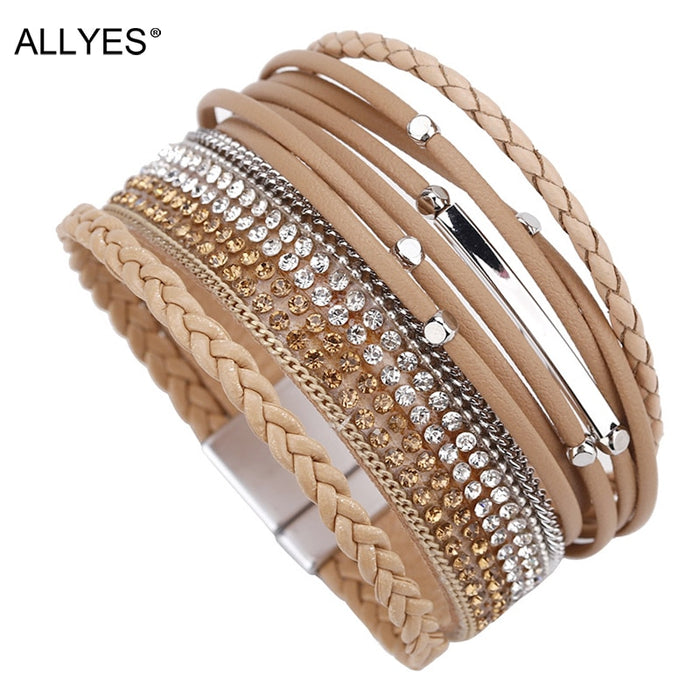 ALLYES Women Leather Bracelet Femme Bohemian Multi-layer Crystal Vintage