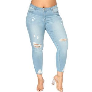 Romacci Women Plus Size Ripped Jeans 5XL 6XL 7XL Slim Denim Destroyed Hole High Waist Jeans Casual Stretch Pencil Pants Trousers