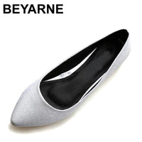 BEYARNE New Leather Lining Women Leather Flats Canvas Silver Basic Pointy