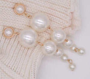 E0207Statement Multiple Pearls Long Dangle Earrings Jewelry Vintage Gorgeous