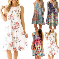 Sleeveless Summer Dress Women Fashion Boho Dresses 2018 Casual Women