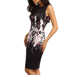 Sleeveless Round Collar Package Hip Printing  Floral Dress Elegant Ladies Office Party Sleeveless Slim Sheath Bodycon Dress