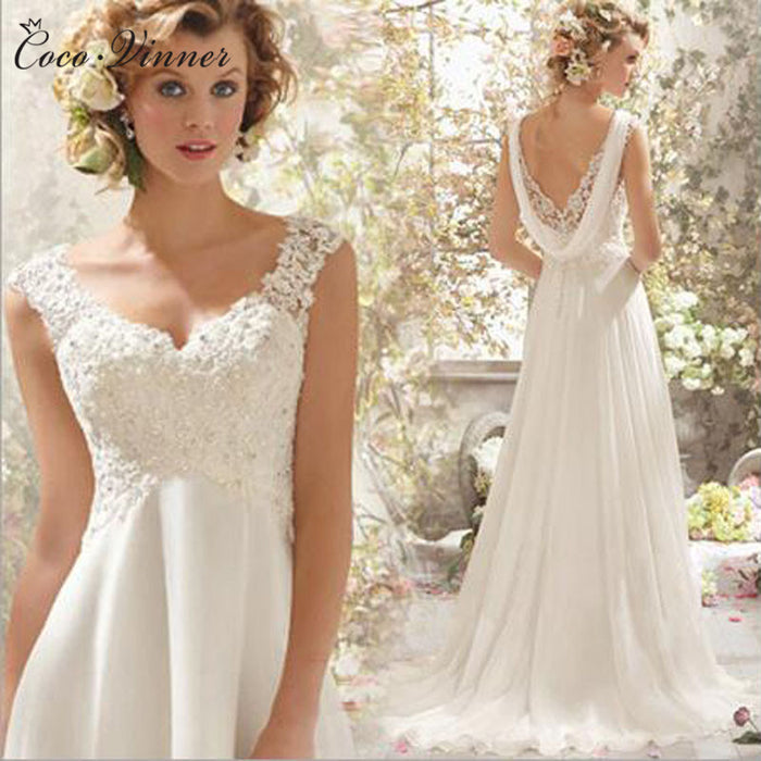 Photos French Style BOHO Beach Wedding Dress Backless High Waist Sexy A line Plus Size