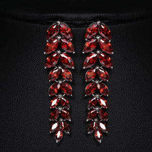 Fashion MONALISA Fall Leaf Earrings Colorful AAA+ Cubic Zircon Chandelier