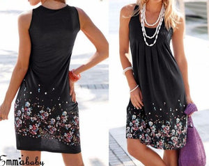 Womens Floral Sundress knee Length Summer Loose sleeveless dresses new PLUS SIZE