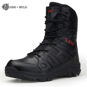 Men Tactical Military Boots Winter Leather Waterproof Desert Combat Army
