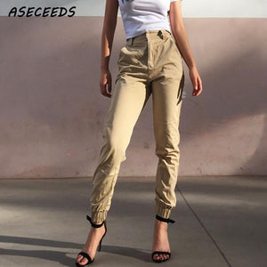 High Waist Camo Black Pants Joggers Women Capris Chain Cargo Pants Trousers