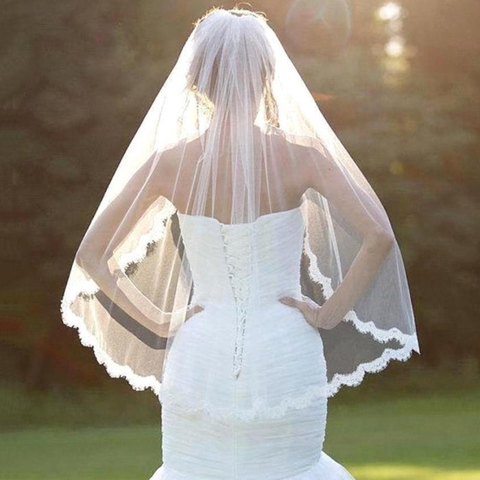 White Lace Veil 1 Layers Tulle Ribbon Edge Bridal Veils