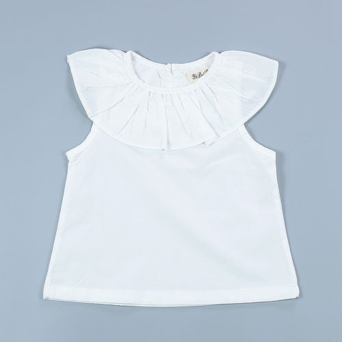 Simple pure colour infant Toddler Casual Shirt Crew Neck Ruffle Tops Kids Baby Girl Blouse White