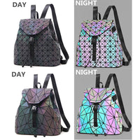 1PC Luminous Backpack Women Leather Geometric Backpacks Diamond Lattice
