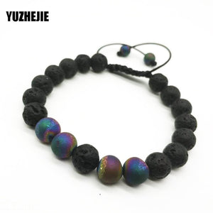YUZHEJIE Design Trendy  tiger eyes spar beads Charm Bracelets Men Natural