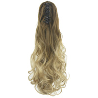 Soowee Hair Accessories for Women Curly Brown Ombre Claw Ponytail Synthetic Hair Clip In Hair Extension Hairpiece Pony Tail
