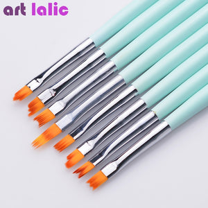 8pcs/set Nail Art French Brushes Smile Half Moon Shape DIY Petal Flower Gradient Fade Color Painting Drawing Mint Green Pen
