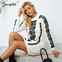 Simplee O neck twist knitted sweater dress women Elegant lace autumn