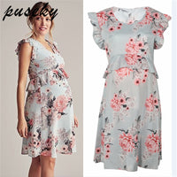 Puseky Floral Maternity Dresses Pregnancy Clothes For Women Dress