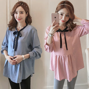 829# 2018 Autumn Korean Fashion Maternity Blouse Loose Long Sleeve Sweet Shirts