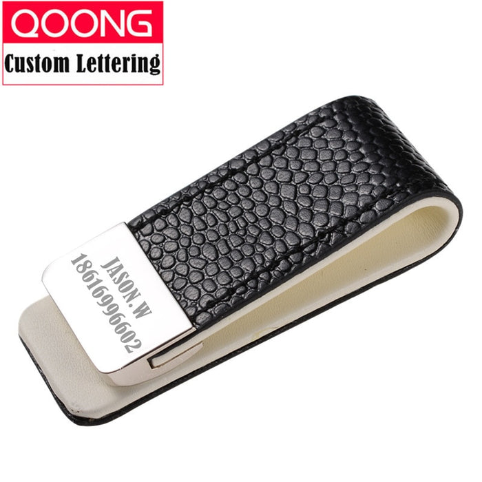 QOONG Money Clip Cash Clamp Holder Portable Leather Slim Money Clip Wallet Purse for Pocket Metal Money Holder Bill Clip ML1-046