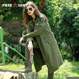 FreeArmy Women Autumn Long Trench Coat Oversize Military Green Drawstring