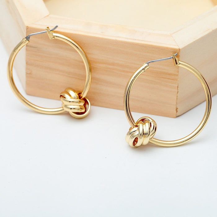 SRCOI Unique Alloy Knotted Hoop Earrings Gold Silver Color Simple Cute Round