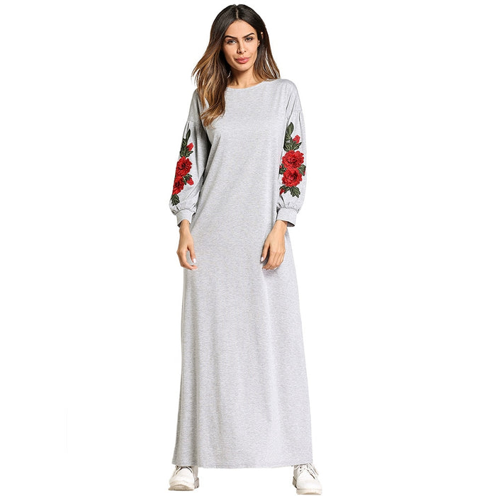 Women Casual Spring Autumn Dress Embroidery Flower Dress Middle East Turkish Dubai Abaya Dress Morrocan Caftan Marokko Kleding
